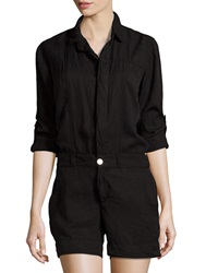 Fade To Blue Rolled Sleeve Short Jumpsuit Black