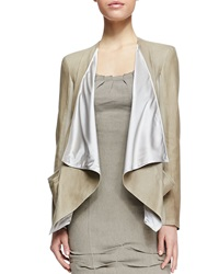 Donna Karan Draped Lambskin Leather Jacket With Jersey Panels
