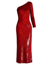Ashish Sequin Embellished Silk Maxi Dress Red