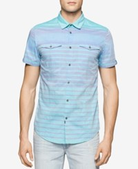 Calvin Klein Jeans Men's Colorblocked Striped Short Sleeve Shirt Porcelain