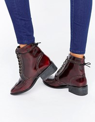 Asos Amar Leather Lace Up Brogue Boots Oxblood Box Leather Brown