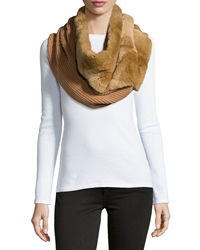 Lafayette 148 New York Rabbit Fur Knit Tube Scarf Saddle