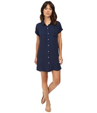 Allen Allen High Low Shirtdress Blue Ink Women's Dress