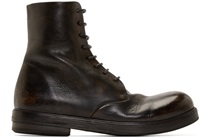 Marsell Black Leather Combat Boots