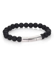 Tateossian Black Agate And Sterling Silver Beaded Bracelet