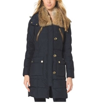 Michael Kors Fur Trimmed Quilted Jacket Navy