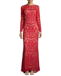 Tadashi Shoji Long Sleeve Lace Overlay Gown Red