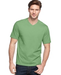 John Ashford Big And Tall Solid V Neck T Shirt Light Pesto