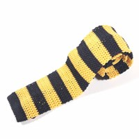 Nick Bronson Knitted Silk Stripe Tie Yellow Black