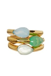 Savvy Cie 22K Yellow Gold Vermeil Chalcedony Green Light Onyx Stackable Ring Set Multi