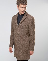 Selected Homme Overcoat In Boucle In Camel Camel Tan