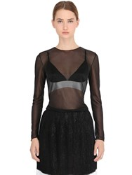 La Perla Long Sleeve Sheer Tulle Top