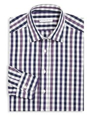 Etro Gingham Jacquard Dress Shirt Navy
