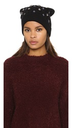 Markus Lupfer Cable Knit Jewel Beanie Hat Black