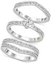 Swarovski Silver Tone Trio Set Stackable Pave And Crystal Rings
