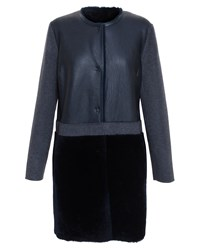 Yves Salomon Shearling And Cashmere Coat Charcoal Midnight Blue Black Grey