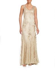 Sue Wong Lace V Neck Gown Parchment