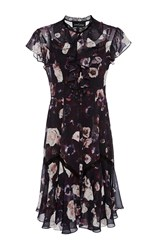 Needle And Thread Floral Ruffle Dress Burgundy