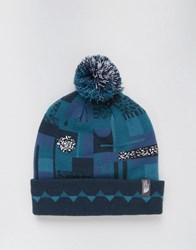 The North Face Ski Tuke Bobble Beanie In Blue Black