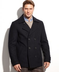 Calvin Klein Wool Blend Double Breasted Pea Coat Midnight