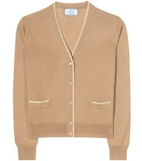 Prada Virgin Wool And Silk Blend Cardigan Brown