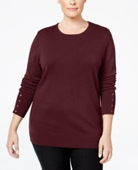 Jm Collection Plus Size Button Sleeve Sweater Only At Macy's Merlot