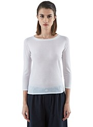 Agnona Fine Knit Scoop Neck Sweater White