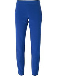 Dkny Cropped Slim Fit Trousers Blue