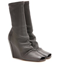 Rick Owens Peep Toe Leather Wedge Boots Grey