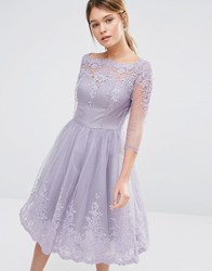 Chi Chi London Premium Lace Midi Prom Dress With Sleeve Dusky Purple