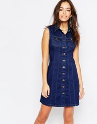 New Look Button Front Denim Dress Blue