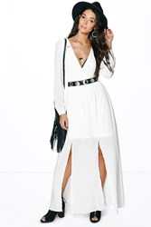 Boohoo Wrap Long Sleeve Woven Maxi Dress Ivory