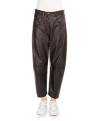 Kenzo Slouchy Cropped Leather Pants Black