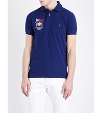 Polo Ralph Lauren Slim Fit Branded Cotton Pique Shirt Holiday Navy