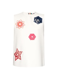 Msgm Spirograph Embroidery Sleeveless Crepe Top