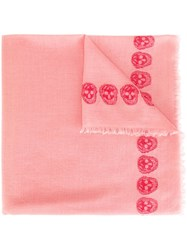 Alexander Mcqueen Stars And Skulls Embroidered Scarf Pink And Purple