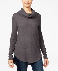 Ultra Flirt Juniors' Cowl Neck Waffle Knit Tunic Grey
