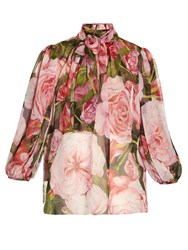 Dolce And Gabbana Rose Print Chiffon Blouse Pink Multi