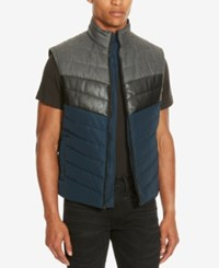 Kenneth Cole Reaction Men's Colorblocked Puffer Vest Indigo Combo