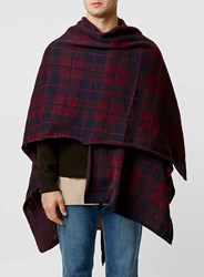 Topman Burgundy And Navy Checked Cape Grey