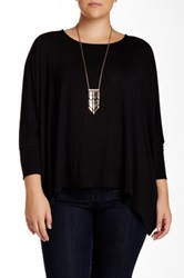 Heather By Bordeaux Oversized Tee Plus Size Black