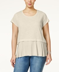 Styleandco. Style And Co. Plus Size Short Sleeve Flounce Hem Top Only At Macy's Stonewall