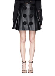 Givenchy Suede Button Lambskin Leather Flare Skirt Black