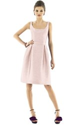 Women's Alfred Sung Scoop Neck Dupioni Fit And Flare Dress Pearl Pink