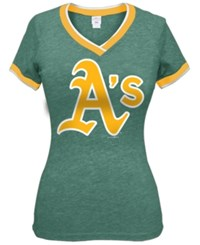 5Th And Ocean Women's Oakland Athletics Triple Flock T Shirt Green