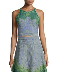 M Missoni Sleeveless Jacquard Crop Top Sky Blue Size 38
