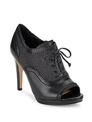Saks Fifth Avenue Open Toe Pumps Black Grey