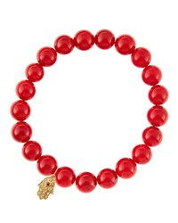 Sydney Evan Red Coral Beaded Bracelet With 14K Gold Hamsa Charm Made To Order