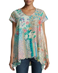 Johnny Was Printed Short Sleeve Embroidered Hem Tunic Multi