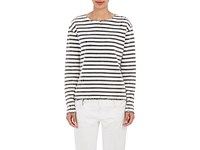 R 13 R13 Women's Breton Distressed Knit Cotton Top White Black No Color White Black No Color